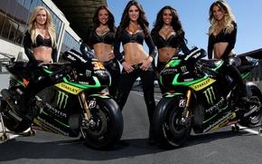 Картинка взгляд, Девушки, мотоцикл, YAMAHA, красивые девушки