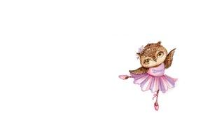 Картинка настроение, сова, танец, арт, пачка, балет, детская, пуанты, совушка, Inga Paltser, Ингa Пальцер