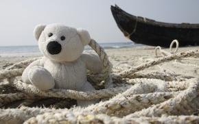Картинка море, фон, обои, берег, настроения, лодка, рыбак, Белый, Индия, мишка, канат