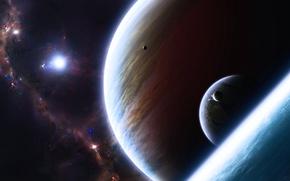 Картинка планеты, звёзды, маленькие, большие, галактики