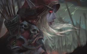 Картинка девушка, лук, арт, WoW, World of Warcraft, эльфийка, art, Sylvanas Windrunner, Sylvanas, Windrunner, Сильвана Ветрокрылая