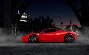 Картинка ночь, суперкар, феррари, красная, Ferrari 458 Italia