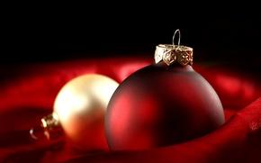 Картинка зима, красный, игрушки, шар, шарик, Новый Год, Рождество, декорации, золотой, Christmas, праздники, New Year, елочные, …