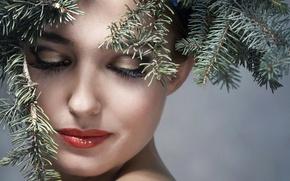 Картинка девушка, ветки, лицо, фон, новый год, макияж, прическа, красотка, хвойные, крупным планом