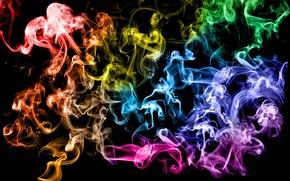 Обои кольца, Дым, разноцветный