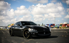 Картинка lights, Maserati, wheels, GranTurismo, with, and, color, CVT, Vossen, lowered, smoked, matched