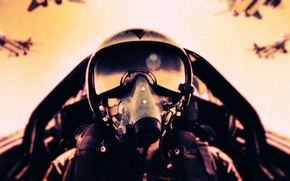 Обои шлем, самолет, истребитель, пилот