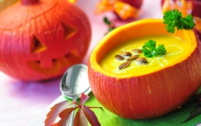 Обои петрушка, Halloween, тыква, семечки, праздник, Хэллоуин, суп