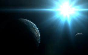 Картинка космос, звезда, планета, спутник, арт, белая, яркая