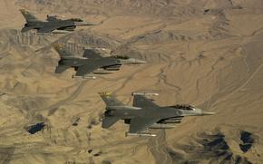 Картинка истребители, три, F-16, Fighting Falcon, «Файтинг Фалкон»