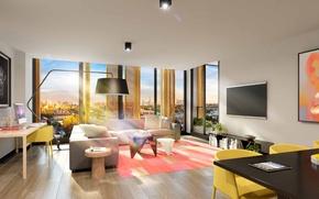 Обои дизайн, стиль, интерьер, мегаполис, жилая комната