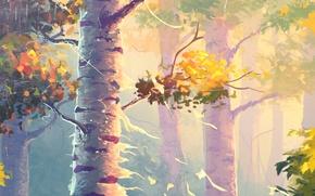 Картинка Природа, Осень, Деревья, Живопись, Берёзы