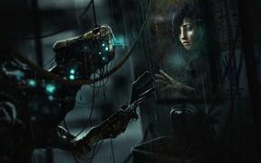 Картинка девушка, отражение, существо, зеркало, трещина, Frictional Games, SOMA