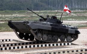 Картинка машина, мост, соревнования, полигон, биатлон, боевая, БМП-2, боевых, пехоты, машин, дивизии, танковый, преодоление, препятствия, подмосковное, ...