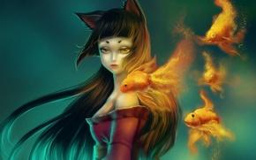 Картинка девушка, фон, рыбка, аниме, арт, ушки
