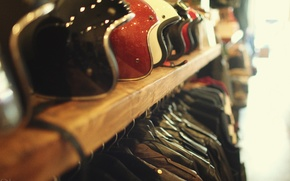 Картинка style, leather, bokeh, helmets, jacket, bikers, shelf, helms, leather jackets, accesories, jackets