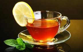 Обои стекло, лимон, чай, чашка, lemon, черный фон, блюдце, tea