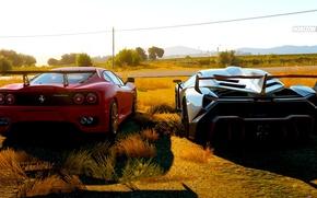 Картинка Ferrari, задница, lamborghini, Forza horizon, lamborhini venono, ferrari 2003