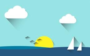 Картинка море, небо, солнце, облака, пейзаж, птицы, парус