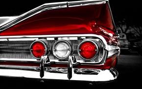 Картинка ретро, отражение, фон, фары, Chevrolet, 1960, Шевроле, классика, impala, задние огни, хромированные детали