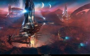 Картинка tower, mountain, spaceship, planet, echoes