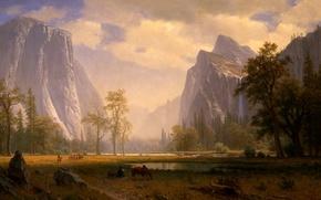 Обои Albert Bierstadt, картина, живопись, Looking Up the Yosemite Valley, painting
