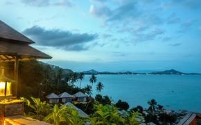 Картинка остров, lamp, beach, залив, пальма, океан, фонарь, sky, Thailand, palm, gulf, island, house, Тайланд, пляж, ...