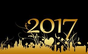 Картинка ночь, желтый, город, фон, праздник, узор, черный, графика, здания, новый год, вектор, растения, цифры, сердечки, ...