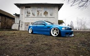 Картинка BMW, wheels, blue, tuning, E46