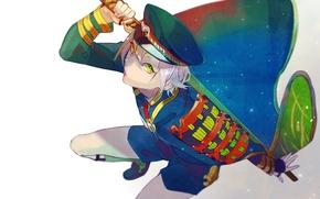 Картинка шорты, катана, парень, game, плащ, фуражка, зеленые глаза, военная форма, Touken Ranbu, Hotarumaru