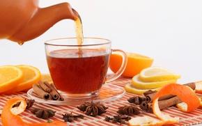 Картинка лимон, чай, апельсин, чайник, чашка, напиток, фрукты, корица, цитрусы, гвоздика, специи, бадьян
