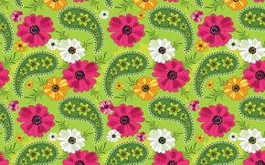 Обои цветы, узор, текстура, лепестки, орнамент, зеленый фон