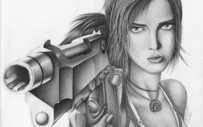 Картинка взгляд, лицо, пистолет, оружие, рисунок, арт, карандаш, lara croft, лара крофт, Tomb raider