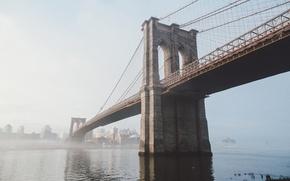 Обои New York, Brooklyn Bridge, Бруклинский мост, Нью-Йорк, река, USA, США