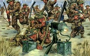 Картинка берег, взрывы, арт, художник, солдаты, стрельба, сражение, британцы, под, отряд, высадка, WW2, Giuseppe Rava., командиром, …