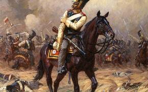 Картинка конь, война, лошадь, сражение, Аверьянов, кавалерист, кавалергард