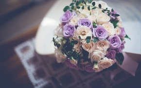 Картинка цветы, розы, букет, фиолетовые, белые, сиреневые, свадебный