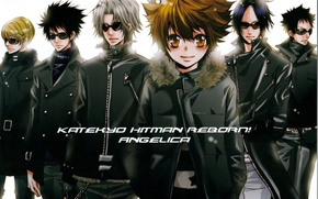 Картинка парни, мафия, katekyo hitman reborn, реборн, темные очки, tsunayoshi sawada, mukuro rokudo, hayato gakudera, hibari …