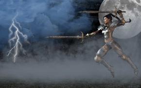 Картинка woman, warrior, swords