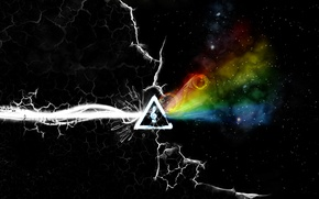 Картинка Pink Floyd, Progressive rock, the dark side of the moon, the album cover, a prism