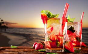 Обои beach, sea, drinks, cocktails, strawberry, strawberry, mint leaves