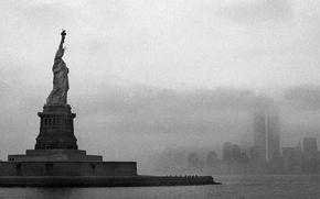 Картинка чёрно-белая, шум, статуя свободы, statue of liberty, noise, остров свободы