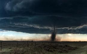 Картинка поле, природа, торнадо