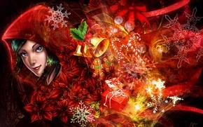 Картинка девушка, праздник, арт, подарки, Merry Christmas