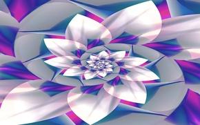 Картинка цветок, линии, краски, спираль, лепестки, объем