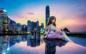 Картинка закат, город, отражение, China, игрушка, здания, Гонконг, кукла, Китай, Hong Kong, Tamar Park, Admiralty