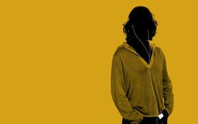 Обои минимализм, стиль, наушники, жёлтый, парень