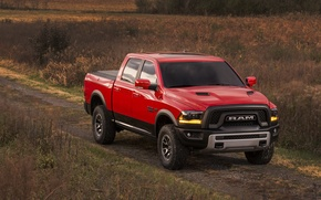 Картинка Dodge, Red, Power, 1500, Pickup, Ram, Hemi, Rebel