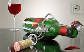 Картинка бокал, бутылка, Вино, пробка
