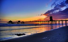 Картинка закат, берег, пирс